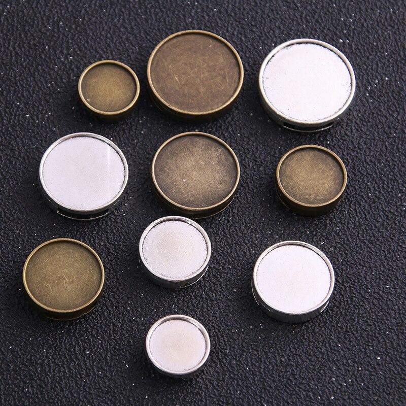 6 pces 12-25mm tamanho interno dois cor dente redondo contas deslizante de couro em branco cabochão ajuste diy pulseira que faz