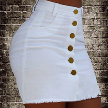 купить Women Denim Skirt Summer Mini Denim White Skirt Solid Color Casual Button Jeans Skirts Ladies Pockets Zipper Pencil Skirts D30 дешево