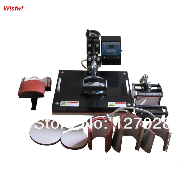 Wtsfwf 30*38CM 8 in 1 Combo Heat Press Printer Machine 2D Thermal Transfer Printer for Cap Mug Plate T-shirts Printing 1 pc 2200w image heat press machine for t shirt with print area available for 38 cm x 38 cm