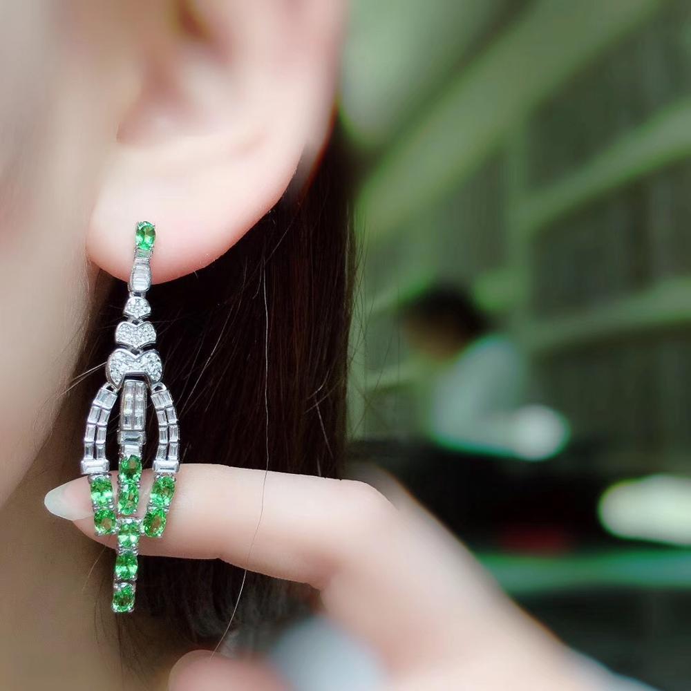 Livraison gratuite naturel et réel Tsavorite boucle d'oreille 925 en argent sterling boucles d'oreilles bijoux fins