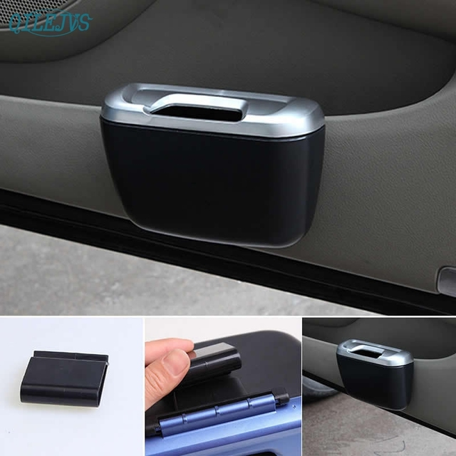 Hot Selling Vehicle Car Auto Trash Rubbish Can Dust Garbage Bin Storage Box Container Black JUN7
