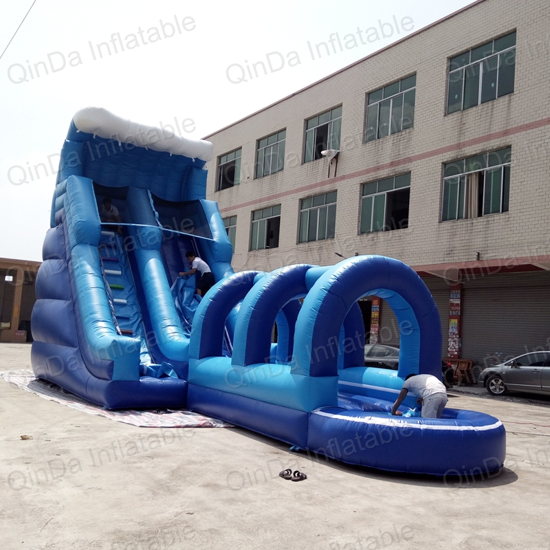 Super Long Colorful inflatable water slide summer plays , 18oz pvc inflatable kids water slide with pool