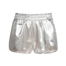 Fashion Metallic Color Shorts Women Elastic Waistband with Packet Loose Fit Casual Exercise Shiny High Waist Mini