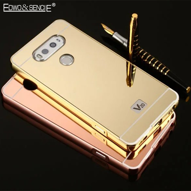 EDWO For LG G2 G3 G4 G5 K7 K8 V20 Luxury Hard Ultra Light Thin Phone Case Plating Acrylic Mirror Back Cover Metal Aluminum Frame
