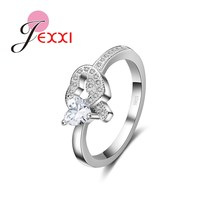 JEXXI Fashion 925 Stamp Sterling Silver Women Wedding Engagement Rings Romantic Design Double Hearts Rhinestone Crystal Jewelry