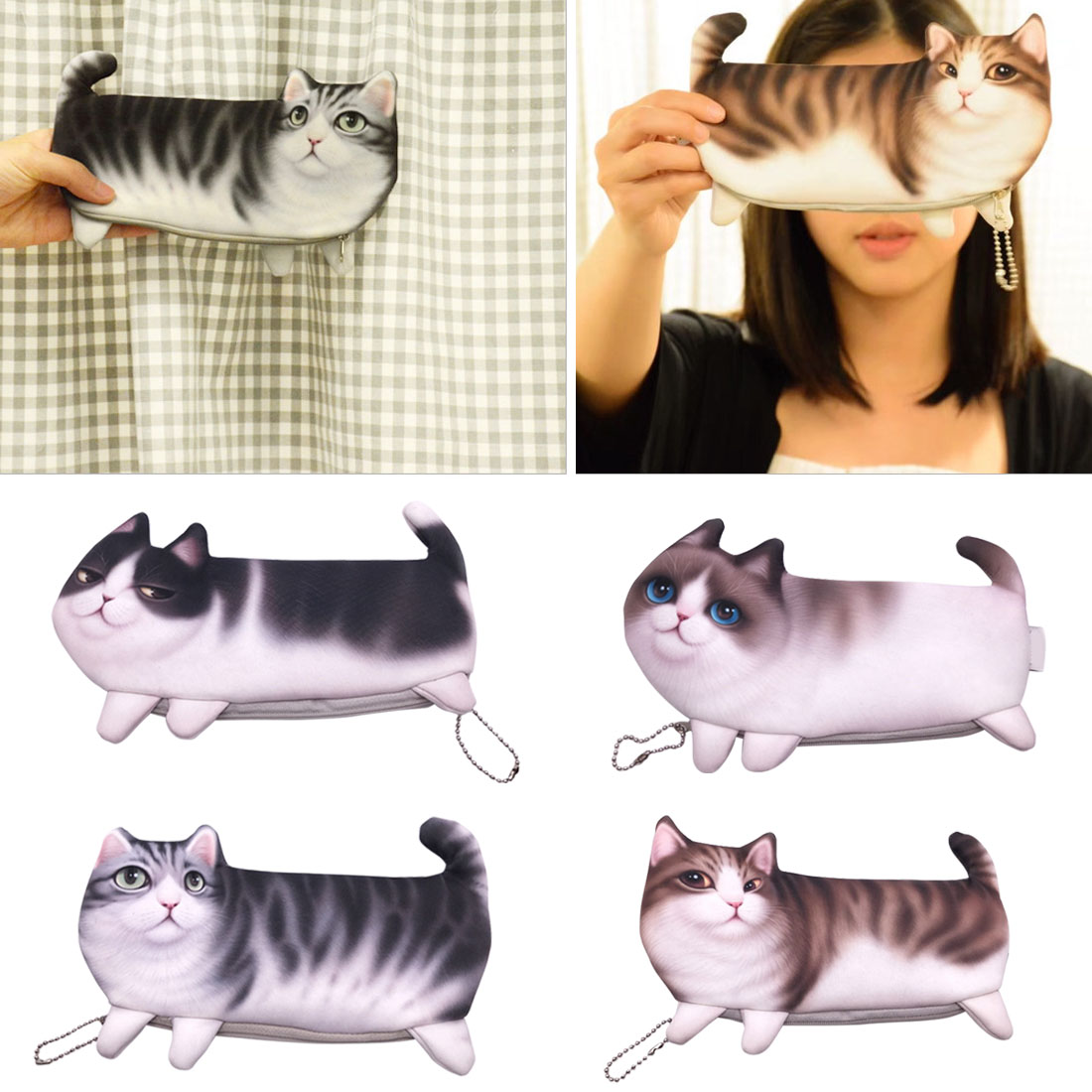 Pencil Cases & Bags Office & School Supplies 2018 Creative Fashion Kawaii Novelty Simulation Cartoon Cat Canvas Pencil Case Cute Soft Cloth School Stationery Pen Bag Gifts