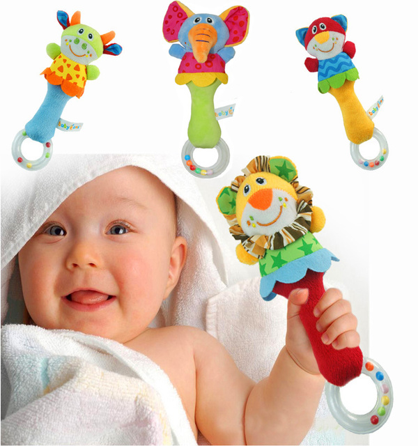New Design Plush Baby Toy Animal Hand Bells Baby Rattle Toys High Quality