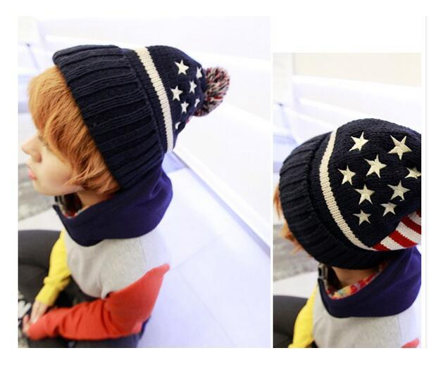 DHL 100 pieces usa american flag Embroidery star Beanie hat wool warm knitted cap hat for man women Skullies Beanies 56-58 cm 1