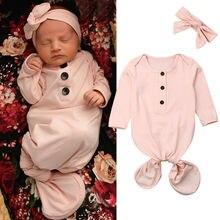 2 шт. одноцветное Цвет Симпатичные для маленьких девочек хлопок Пеленальное Одеяло с длинным рукавом спальный мешок+ повязка на голову 0-24 M