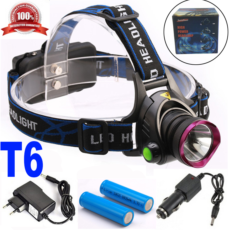 6000 Lumens CREE XM-L XML T6 LED Headlamp Headlight Flashlight Head Lamp Light + 2*18650 battery + charger + Car Charger cree xml l2 led zoomable headlamp red green blue fishing 4 mode head lamp light torch hunting headlight 18650 battey usb charger