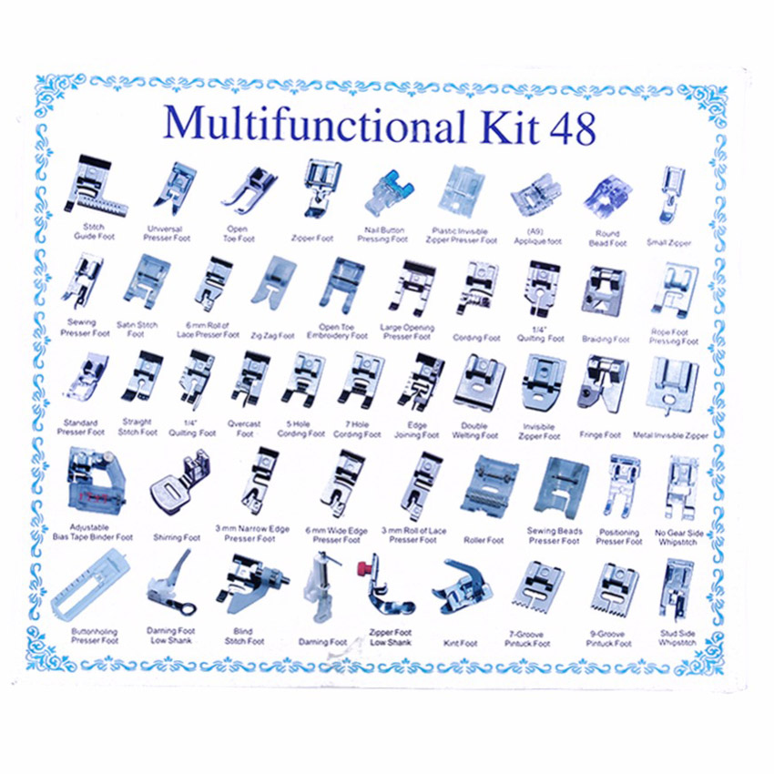 Image 4 - 32/42/48/52 Pcs Sewing knitting crochet Domestic Machine Blind Stitch Darning Presser Foot Feet Kit Set For Brother Singer Janom-in Sewing Tools & Accessory from Home & Garden