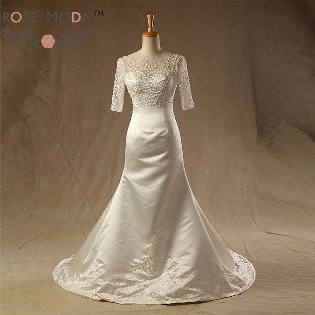 Sheer Bateau Neck Halbarm Ausgestattet Eine Linie Hochzeitskleid ...