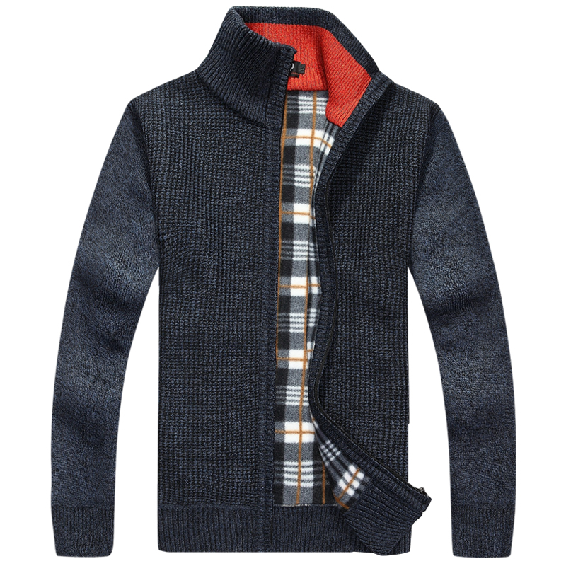 2018 new autumn and winter fashion men's business casual loose striped collar thickening zipper knitted cardigan jacket