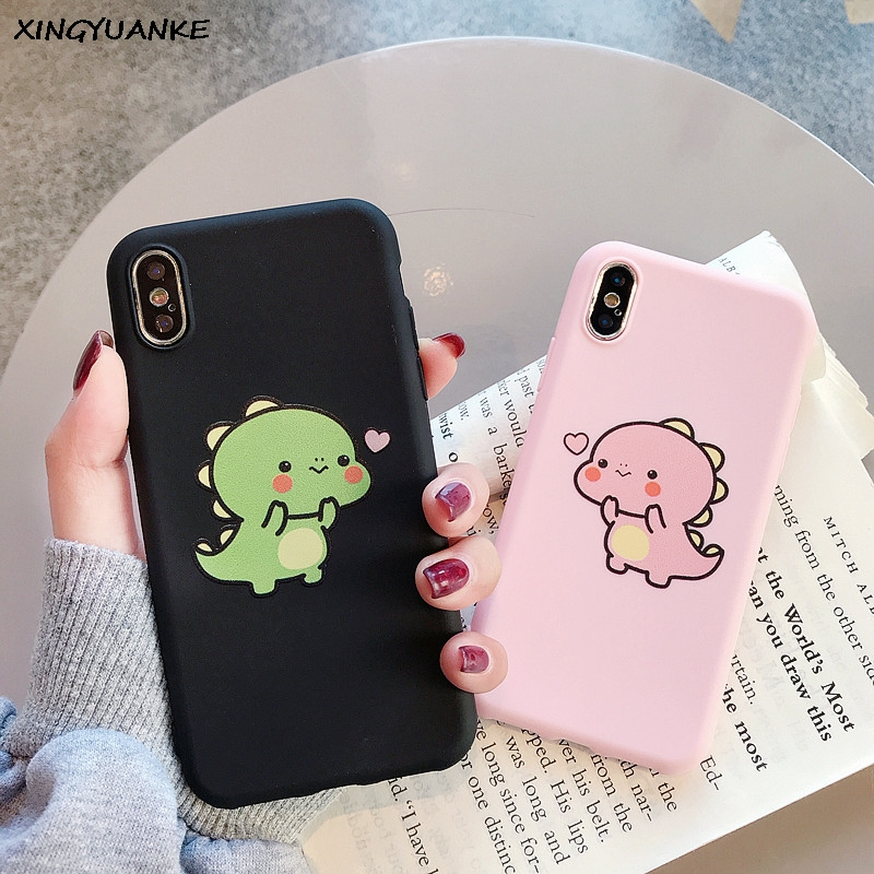 Cute Cartoon <font><b>Dinosaur</b></font> Phone <font><b>Case</b></font> For <font><b>iphone</b></font> <font><b>7</b></font> 6 6S 5 5S 8 Plus <font><b>Case</b></font> For <font><b>iphone</b></font> 11 Pro X XR XS MAX Candy Color Silicone Cover image
