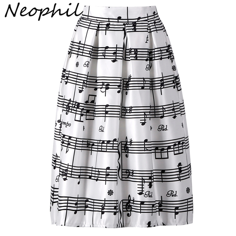 Neophil 2020 Summer Piano Music Note Melody Print High Waist Pleated Ball Gown Satin Flared Midi Women Skirts Tutu Saia S08024