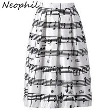 Neophil 2020 Winter Piano Music Note Melody Print High Waist Pleated Ball Gown Satin Flared Midi Women Skirts Tutu Saia S08024