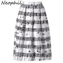 Neophil Mùa Đông 2020 Âm Nhạc Piano Note Giai Điệu In Cao Cấp Xếp Ly Bầu Satin Xòe Midi Nữ Váy Tutu Saia s08024