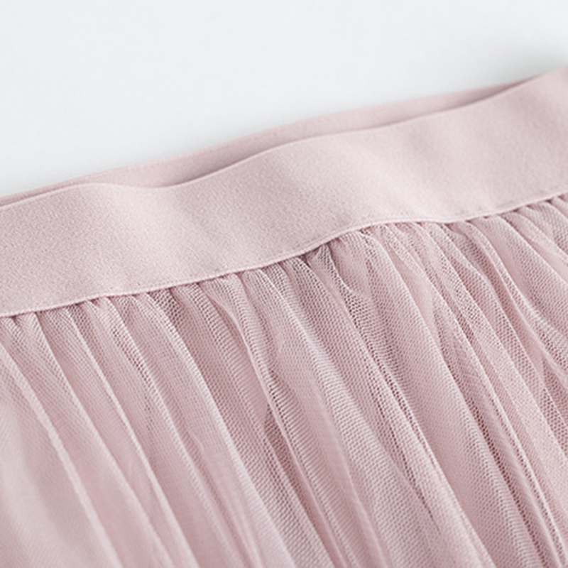Floral Embroidery A-line Tutu Lace Mesh Skirt Women Elegant Tulle Long Pleated Skirt Women Midi Skirt Summer Hot Sale 11