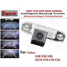 for Volvo V40 V50 V60 XC70 V70 C70 C30 CCD Car Backup Parking Camera Intelligent Tracks Dynamic Guidance Rear View Camera