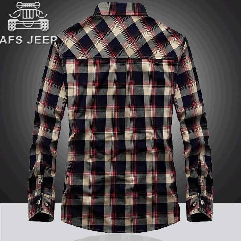 9fea8b3388baef3 ... Afs джип бренд фланель Рубашки в клетку 2018 Демисезонный Повседневное  рубашка с длинными рукавами Для мужчин ...