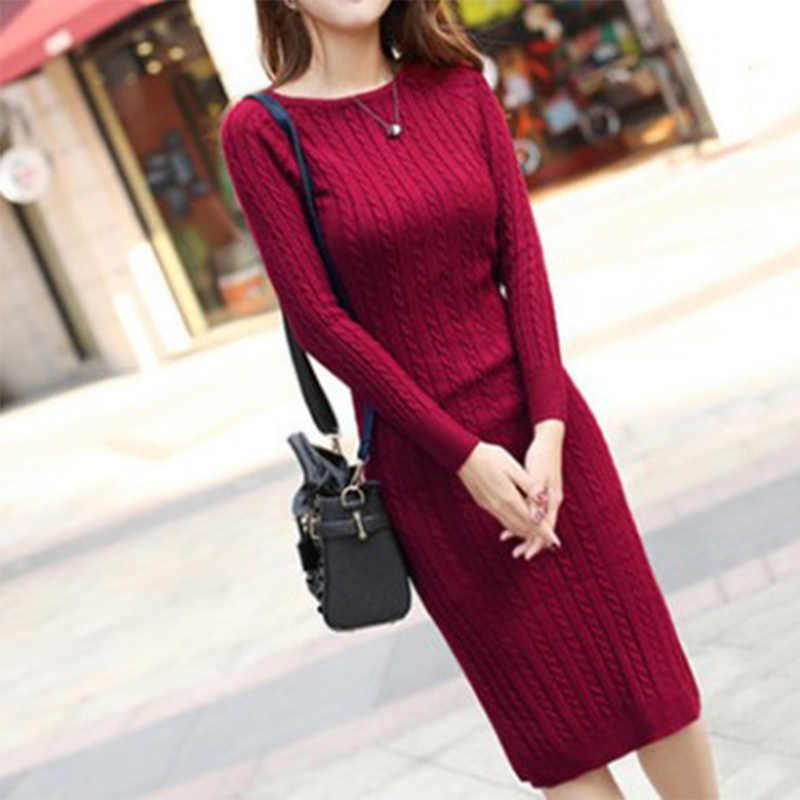 317613a2cf5 Knitted Striped Sweater Dress Women Long Sleeve Elastic Solid Slim Casual Elegant  Female Dress Autmn Winter