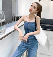 2019 Women Sexy Off Shoulder Denim Jumpsuit Fashion Sleeveless Long Romper Vocation Holiday Wide Leg Playsuits недорго, оригинальная цена