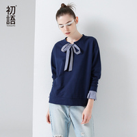 Toyouth T-Shirts 2017 Spring Women Stripe Patchwork Bowknot Vintage Casual Long Sleeve Fake Two Pieces Tees Tops