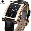 Herrenuhren Luxusmarke Datum Rechteck Lederband Wasserdicht Casual Quarzuhr Männer Sports Armbanduhr Männliche Leuchtende Uhr-in Quarz-Uhren aus Uhren bei