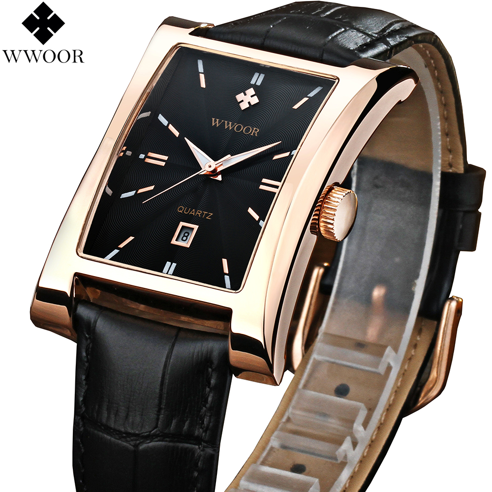 Men's Watches Luxury Brand Date Rectangle Leather Strap Wate