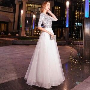 Image 5 - Weiyin أبيض a line فساتين سهرة طويلة على شكل حرف v نصف كم طول الأرض مطرزة فستان سهرة رسمي للحفلات الراقصة