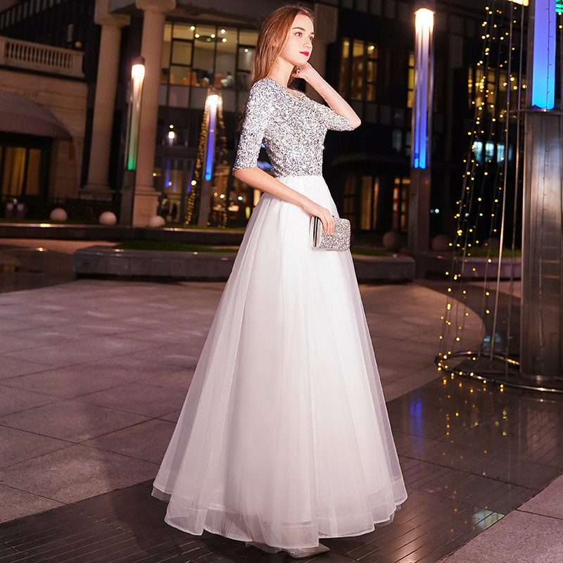 Image 5 - weiyin White A line Long Evening Dresses V neck Half Sleeves Floor Length Sequined Evening Dress Formal Party Dress Prom Dress-in Evening Dresses from Weddings & Events