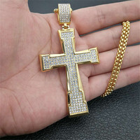 Men Cross Christ Pendant Hip Hop Jewelry Iced Out Bling Bling Rhinestone Gold Color Crucifix Pendant Necklace Chain XL1301