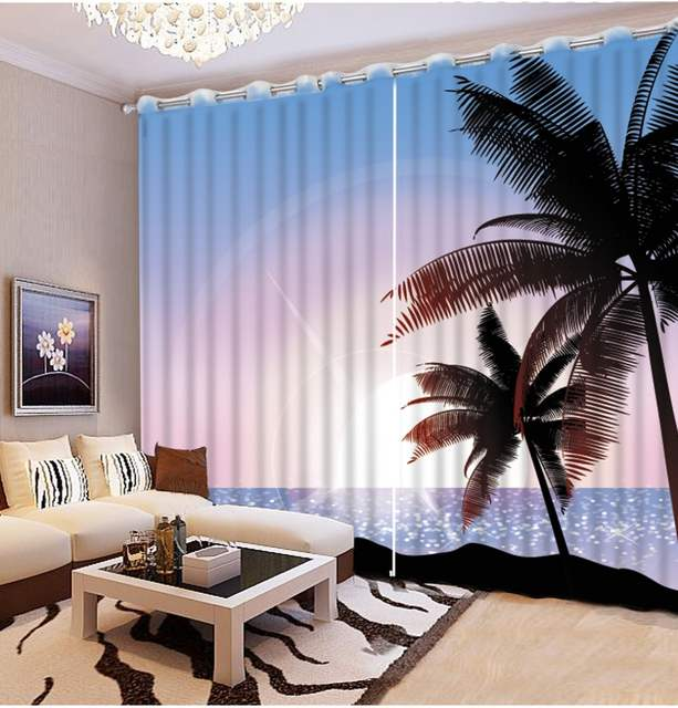 Classic Home Decor Modern Style Beach Scenery Curtains For Living
