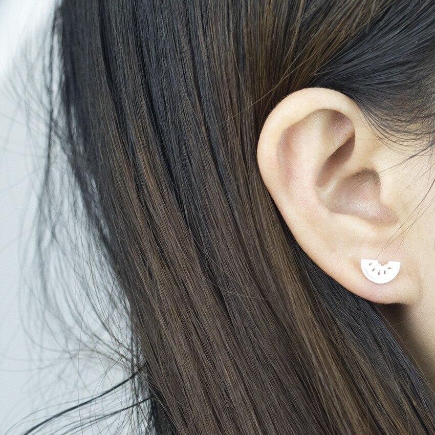 Summer Style Simple Half A Watermelon Stud Earring Pendant Necklace Women Men Kids Stainless Steel Jewelry Gold Silver Schmuck 1