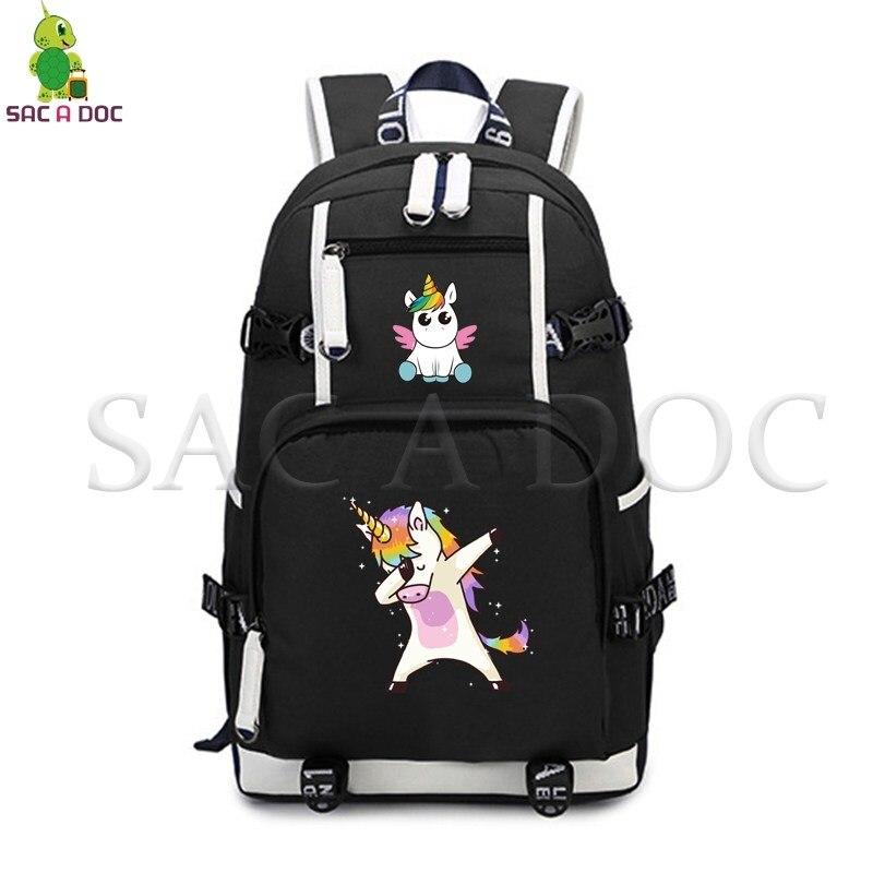 Dabbing licorne sac à dos mode toile sacs d'école pour les adolescents garçons filles grande capacité voyage sac à dos pour ordinateur portable quotidien