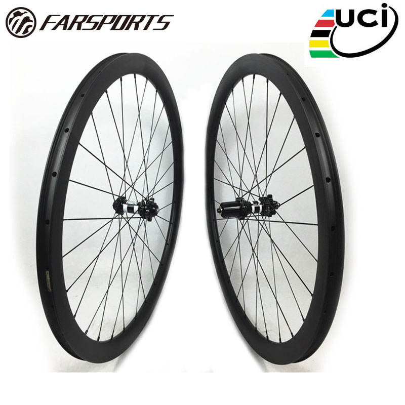 China Farsports carbon bike wheels clincher 38mm depth carbon Cyclocross rims with DT 350s central lock hubs Sapim aero spokes farsports fsc38 tm 23 carbon cycling wheels 23mm 38mm tubular rims dt 240s hubs with sapim cx ray spokes total 1189g per set