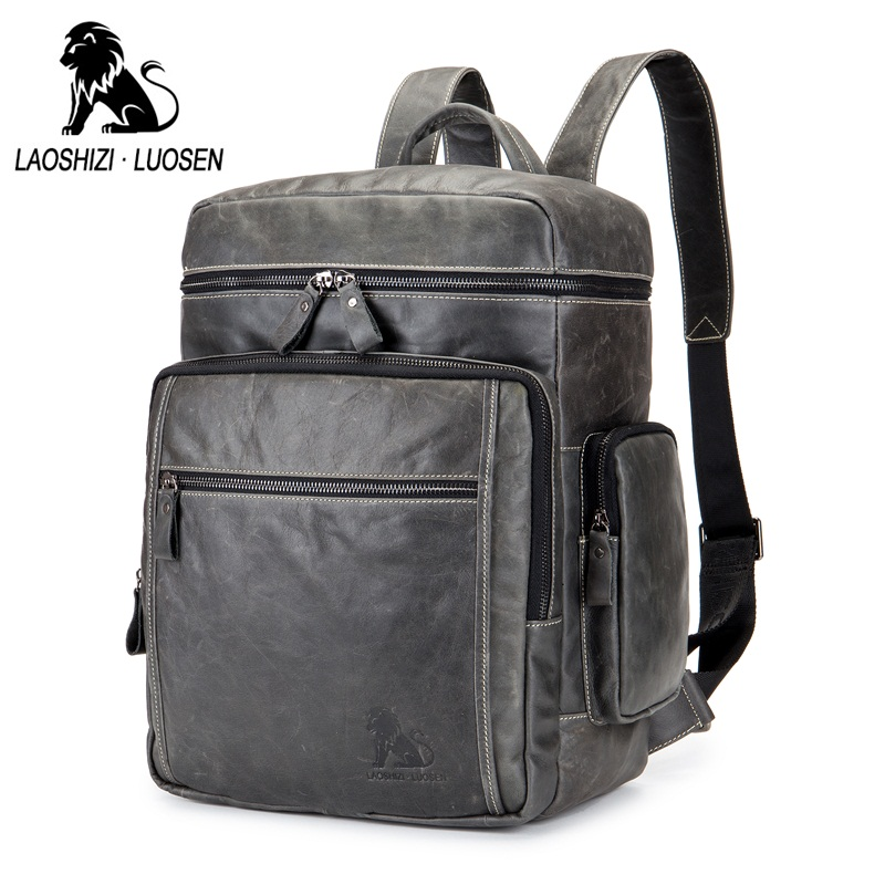 a019342588 Best buy LAOSHIZI LUOSEN Genuine Leather Men Backpacks Brand Casual  Business Travel Backpack Male Laptop Bag Shoulder Bag online cheap