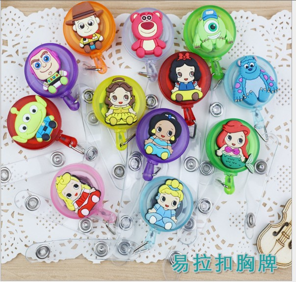 Toy Story Princess Retractable Badge Reel High Quality Silicone Cartoon Student Nurse ID Name Card Badge Holder Office Supplies