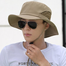 Xongkoro Homens Verão Respirável chapéu de Balde Chapéus Sunbonnet Masculino  Escalada Pesca Sol Dobrável Chapéu Bonnie 26f75ac829d