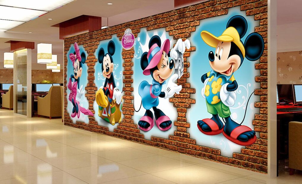Custom papel DE parede infantil, Mouse 3D three-dimensional brick wall for children room bedroom TV wall fabric papel DE parede обои great wall 3d papel de parede infantil qy0003