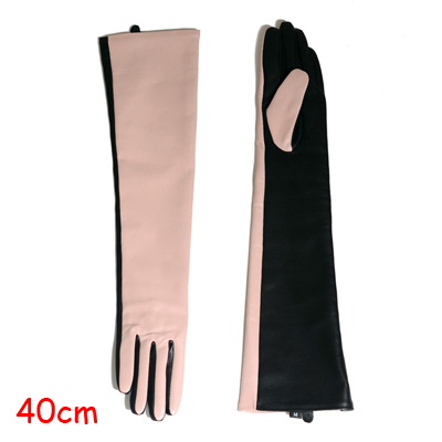 Winter Warm Women Genuine Leather Contrast Color 40/50 cm Long Gloves Female Pink/Black Opera Evening Luva Mujer Street Eldiven