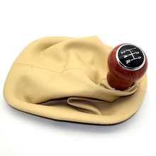 Chromed 5-Speed 6-Speed MT Gear Shift Knob with PU Leather Gator Boot Cover for Volkswagen VW Passat B5 B5.5 98-04 Shifter Lever