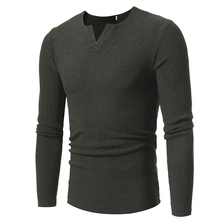 Sweater Pullover Men 2018 Male Brand Casual Slim Sweaters Men Soild Color Horizontal Stripes Hedging V-Neck Men'S Sweater XXXL