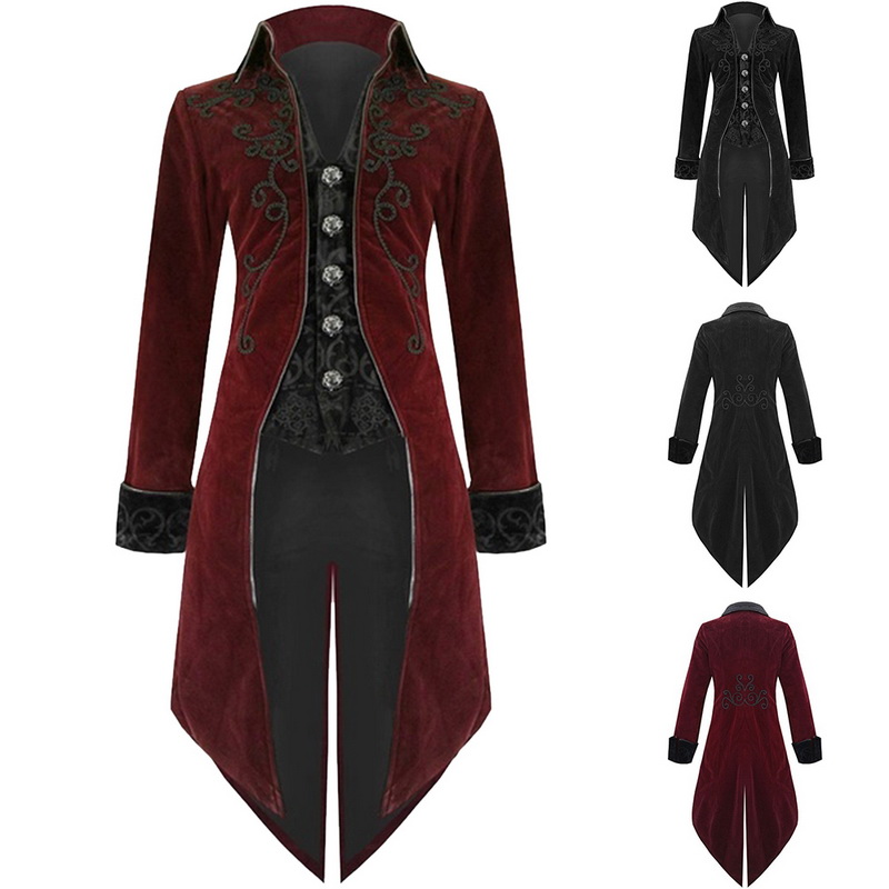 Oeak 2019 Men Vintage Tailcoat Gothic Steampunk   Trench   Coat Men Retro Frock Outfit Overcoat Men Cosplay Costume Tuxedo For Party