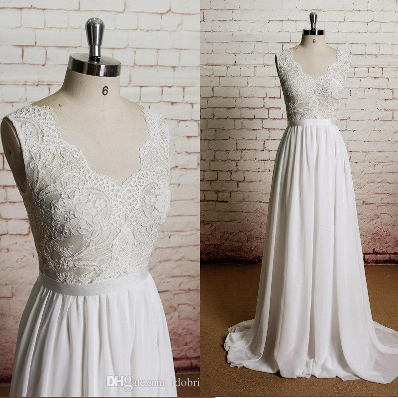 Summer See Through Lace Appliques Chiffon Engagement Dress Simple