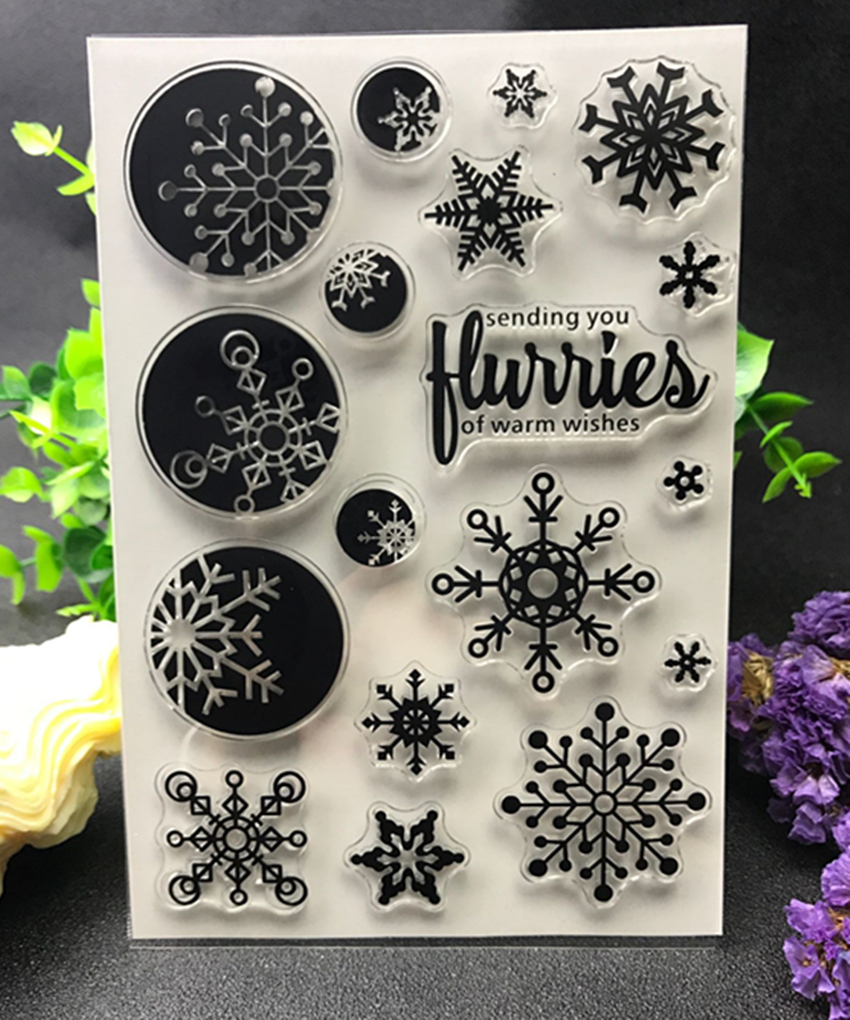 Snowflake Transparent Clear Silicone Stamp/Seal for DIY scrapbooking/photo album Decorative clear stamp sheets X123