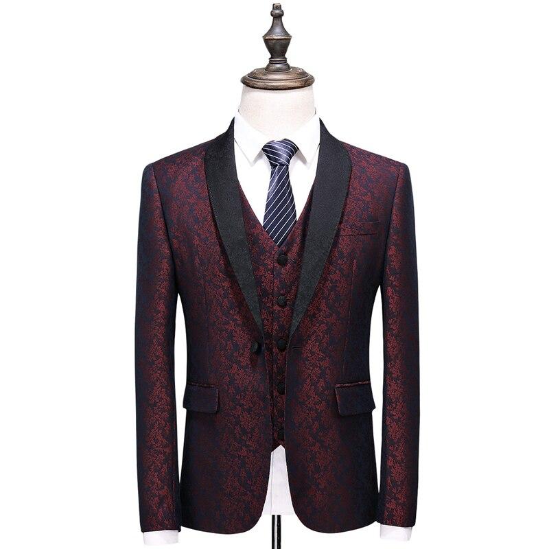 Plyesxaleショール襟スーツ男性2018スリムフィットメンズ結婚式スーツファッションプリントブルーブルゴーニュタキシードジャケットパンツベストq375  グループ上の メンズ服 からの スーツ の中 3