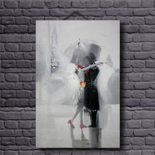 Lovers in the Rain Romantic Abstract Oil Paintings on Canvas Modern Figure Painting Canvas Picture Hand Painted Picture Unframed