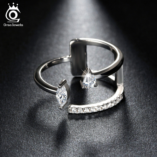 ORSA JEWELS Popular Girls' Finger Adjustable Ring with Brilliant AAA Austrian CZ