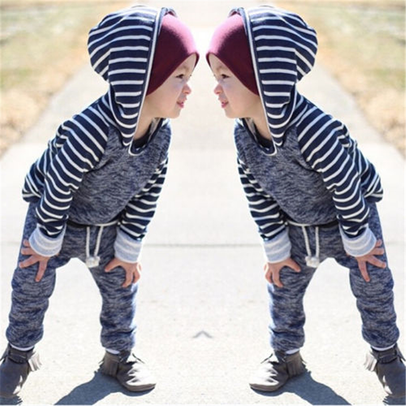 Baby Boy Striped Clothes 2pcs Casual Newborn Hooded Long Sleeve Sweater Tops+Pants Outfits 2017 New Baby Girl Cotton Clothes Set